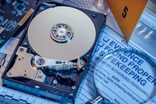 Hard disk drive. Cybercrime evidence.